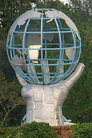 Sculpture of a Hand Holding a Wireframe Globe at Locklin Technical College