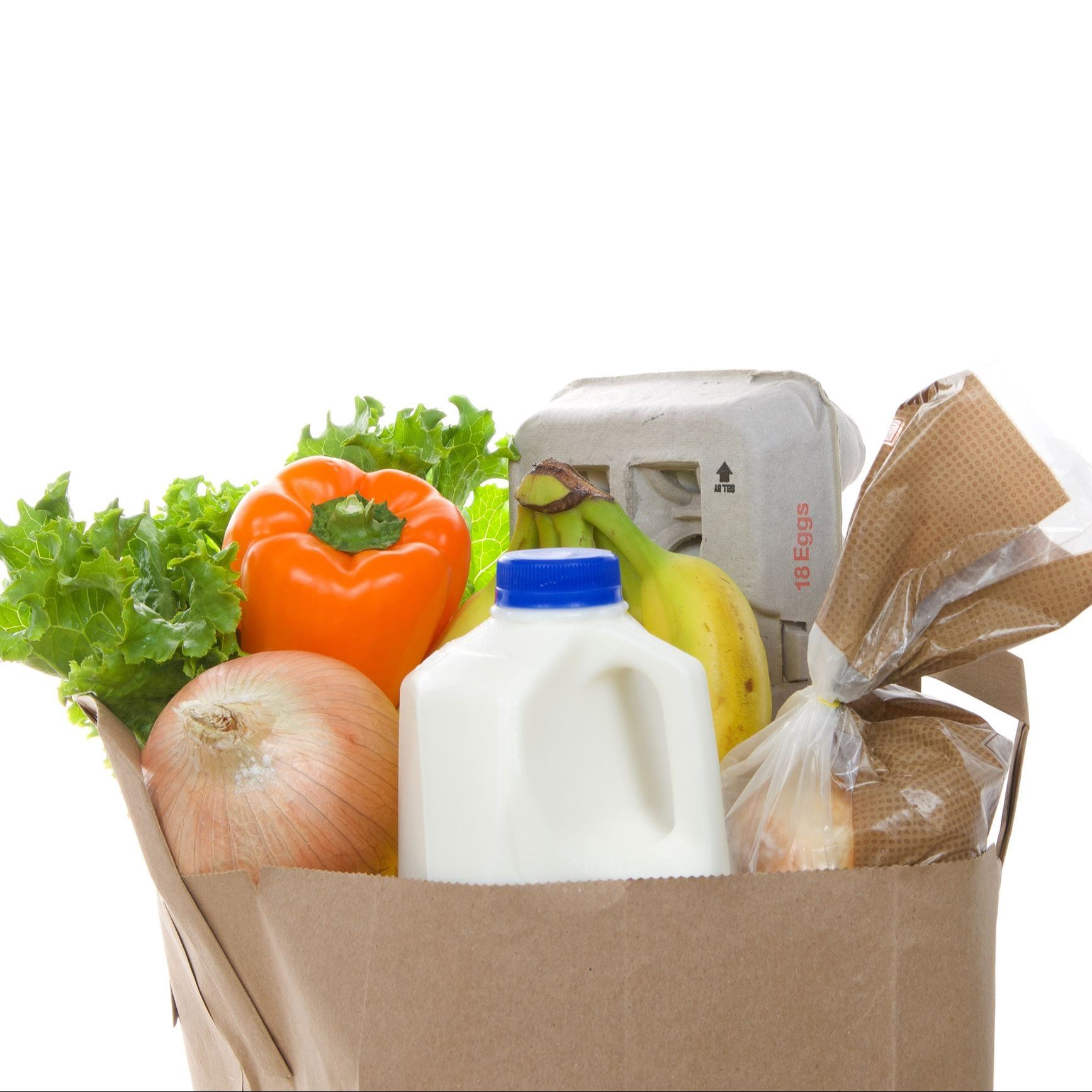 grocery bag with eggs, milk, vegetables