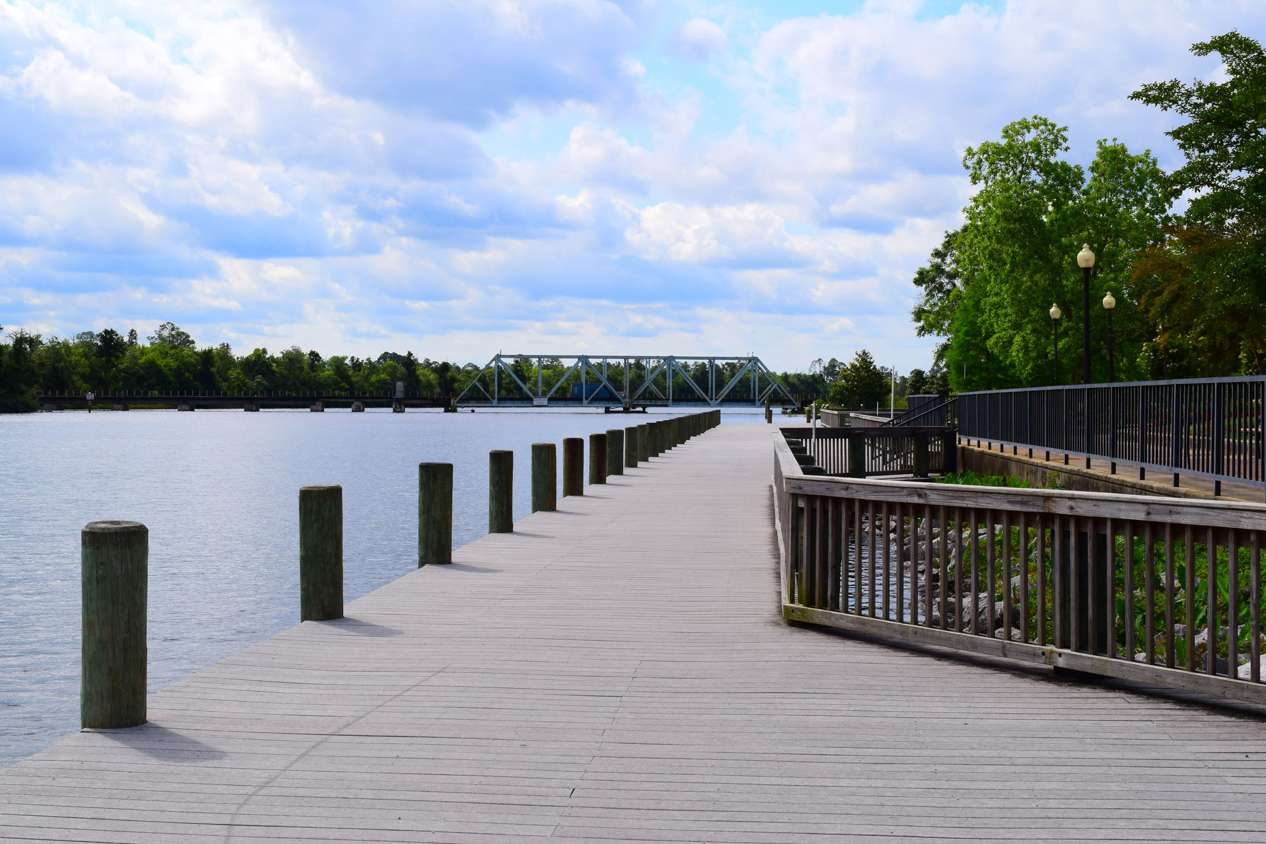 The pier at Riverwalk Park in downtown Milton facing south.
