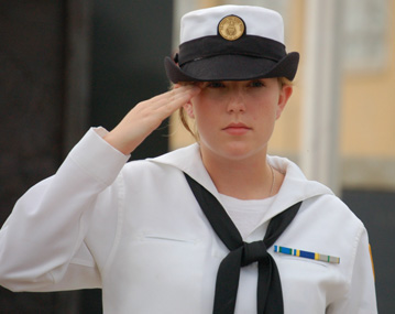 A young U. S. Naval Sea Cadet at Veteran's Memorial Plaza in downtown Milton.